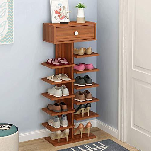 Zapatero Shoes Rack Zapatero Zapatos del organizador del almacenaje del zapato del cajón del gabinete de múltiples capas de zapatos Armario Estantes zapato de madera Puerta de entrada for Pasillo Guar