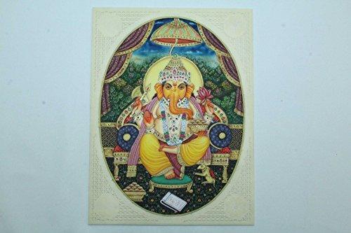 Rajasthan Gems Religiöse handgefertigt Gemälde auf Kunstharz Indien Gott Ganesha mit Edelsteinen..