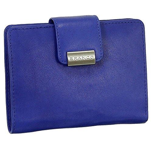 Leder Damen Geldbörse Portemonnaie Geldbeutel XXL mit Druckknopf 10 cm Farbe Royalblau