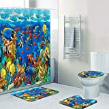 Forart 4Pcs Shower Curtain Sets Underwater World Theme Dolphins and Tropical Fish Decor Waterproof Non-Slip Bathroom Accessory Sets