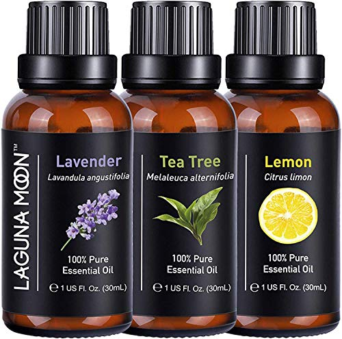 Essential Oils Sets 90mL/Set,Tea Tree,Lavender, Lemon, Help Relaxing/Uplifting,Air Fresh, Pure Essential Oils for Diffuser, Humidifier, Massage, Aromatherapy, Soap, Candle Making, 30mL/Bottle