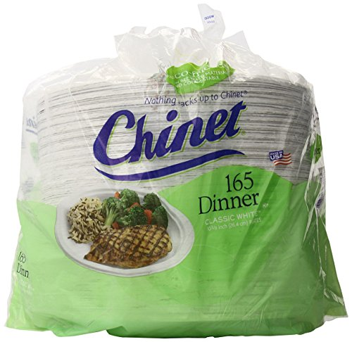 Chinet Classic White Paper Dinner Plates, 10 3/8 Inch, 165 Count,...