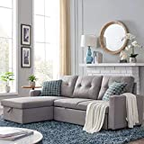 82-inch Reversible Sectional Storage Sofa Bed, Corner Sofa Bed with Storage, Three-Person Recliner