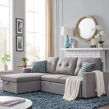 HALOWAY 82-inch Reversible Sectional Corner Sofa Bed with Storage 72.5  54  21.5  Gray