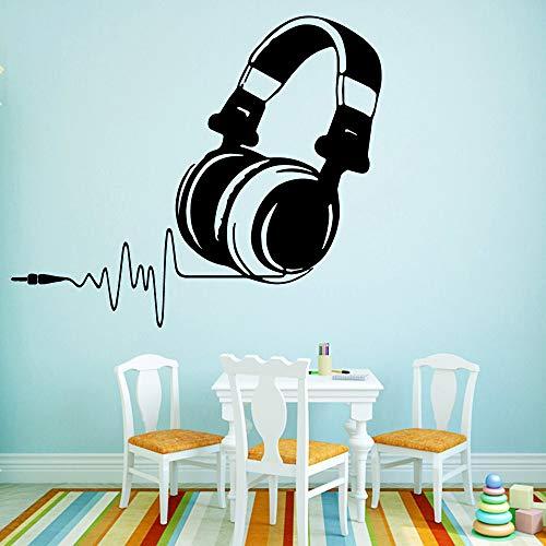 YuanMinglu Auriculares DIY música Vinilo Pegatinas de Pared decoración del hogar Pegatinas de Pared habitación de los niños Arte de la Pared calcomanías de Pared Negro M 30cmX35cm
