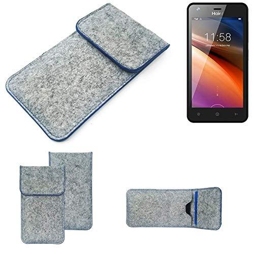 K-S-Trade® Filz Schutz Hülle Für Haier G21 Schutzhülle Filztasche Pouch Tasche Case Sleeve Handyhülle Filzhülle Hellgrau, Blauer Rand