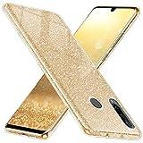 QULT Handyhülle kompatibel mit Huawei P30 Lite Hülle Glitzer Gold Silikon glänzend Tasche Huawei P30 Lite Hülle Bumper mit Glitter Design Sparkles Golden