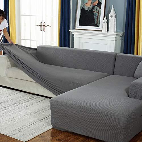 Funda de sofá elástica de Felpa Fabirc, Fundas de sofá en Forma de L sólidas, Fundas de Terciopelo para Sala de Estar, Funda de sofá elástica A14, 3 plazas