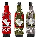 Copertura per bottiglia di vino, 3 pezzi, riutilizzabile, per regali di vino, con motivo nano, per decorazioni natalizie, feste, feste e feste