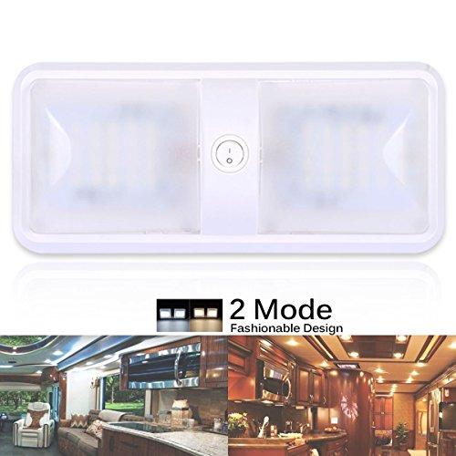 AutoEC Lumière de Dôme LED, Appareil d'Éclairage de Plafond de Dôme de RV du Mode 12v LED de Couleur, Lumière de Rechange d'Intérieur pour Le RV, Remorque, Campeur, Camping-Car, Bateau