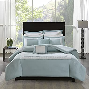 Madison Park Stratford Cal King Size Bed Comforter Set Bed In A Bag - Aqua, Geometric – 8 Pieces Bedding Sets – Ultra Soft Microfiber Bedroom Comforters