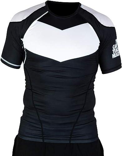 almacén al por mayor Hyperfly ProComp Supreme Short Sleeve Sleeve Sleeve Rash Guard negro blanco  venta caliente
