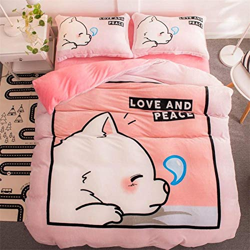 boys double duvet covers set-Winter double-sided fleece thick cartoon flannel warm bedding sheets quilt cover pillowcase O_1.8m bed (4 pieces)