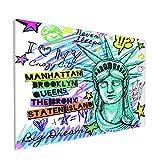 Sin Marco Mural Impresiones en Lienzo,Gráficos de Mapa de Letras de la Estatua de la Libertad de impresión de Nueva York,Oficina en Casa Decoración Mural Pintura al óleo Arte de Moda,18' x 12'