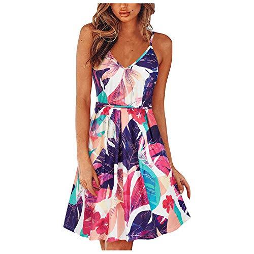 Vestido de verano con cuello en V, floral, estilo halter, informal, para playa, estilo bohemio, vestido de fiesta