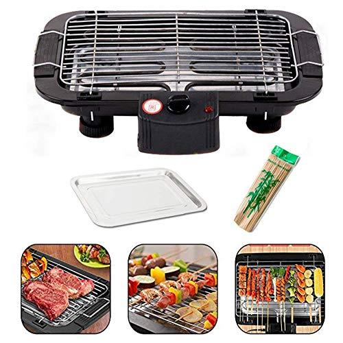 Parrilla eléctrica portátil para cocinar en el interior con placa antiadherente de gran capacidad y 6 celdas de temperatura
