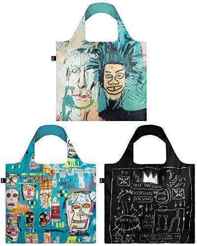 LOQI A71860 Museum Jean Michel Basquiat bolsas de la compra reutilizables, poliéster, Warhol, calavera, corona