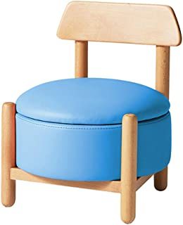 Kids Stool Chair, Faux Leather Footstool Pouf Padded Chair for Kids, Baby Toys Baby Box Nursery Blue 37x37x46cm