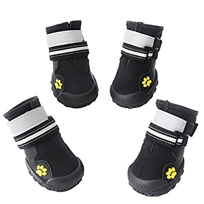Asmpet Dog Boots Waterproof Shoes with Reflective and VelcroRugged Velcro Anti-Slip Sole,4pcs
