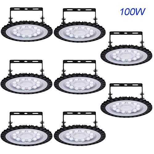 MODRYER High Low Bay LED Lights 100W, Ufo Lamp Cool White Factory Lighting Ip65 Waterproof Industrial Spotlight Floodlight for Factory Shop Industrial Garage [Energy Class A ],100W-8 pack