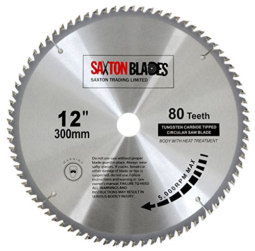 Hoja de sierra circular de madera Saxton TCT, 300 mm x 30 mm, 80T para Bosch, Makita, etc. Se adapta a sierras de 305 mm