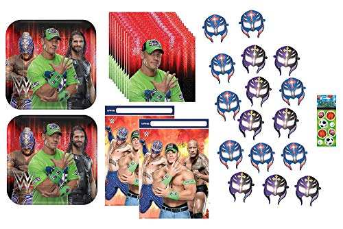 WWE Wrestling Birthday Party Supplies Bundle for 16 includes Plates, Napkins, Table Cover, Favor Loot Bags, Party Paper Masks