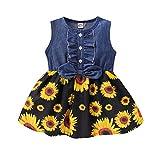 Kucnuzki 2T Girls Clothes Toddler Princess Dresses for Girls Baby Sunflower Denim Skirt Ruffle Short Sleeve Summer Dress 2-3T Outfit (Flower+Black)