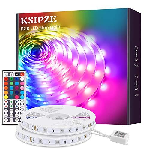KSIPZE LED Strip 12m RGB Farbwechsel LED Lichterkette LED Band Stripes Mit 44 Tasten Fernbedienung und Netzteil LED Streifen für die Beleuchtung von Schrank,Haus Deko, Bar, Küche, Party