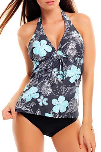 Octopus Trendiger Push Up Tankini/Slip/Neckholder/Bandeau/Cut Out/Verschiedene Prints f3409 Farbe: 1047S6 Grau mit Blumen, Slip Schwarz, GR. 40