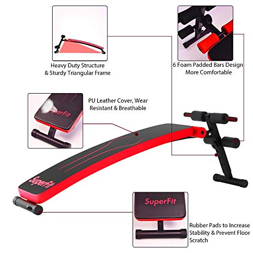 Goplus Adjustable Sit Up Bench, Abdominal Training Workout Slant Bench, Decline Curved Ab Bench for Home Gym Ab Exercises (Red)