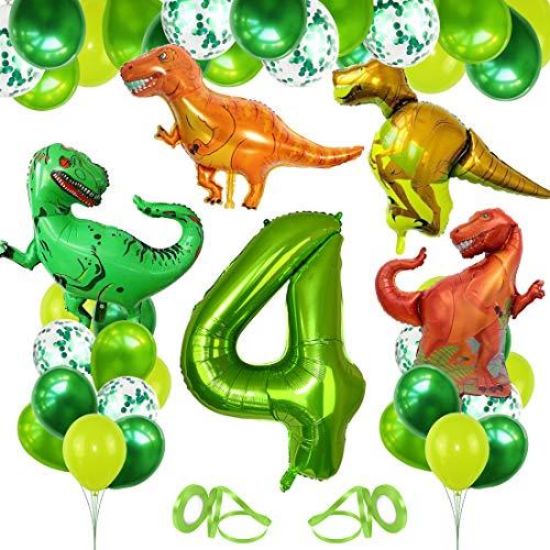Decoracion Cumpleaños Dinosaurios, Globo Numero 4 Verde, Globos Dinosaurios, Globos de Cumpleaños 4 Años, Globos Grandes Gigantes Helio, Globos para Fiestas de Cumpleaños