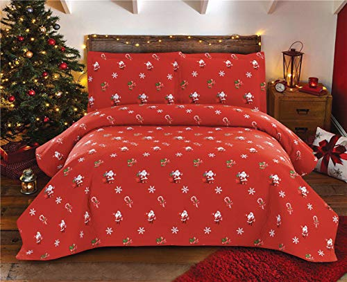 "YC Christmas Quilt Set Red Santa Claus Coverlets Lightweight Lodge Bedspread Cartoon Kids Lollipop Snowflake Quilts for Full/Queen Size 90""x90"" for Xmas Gifts"