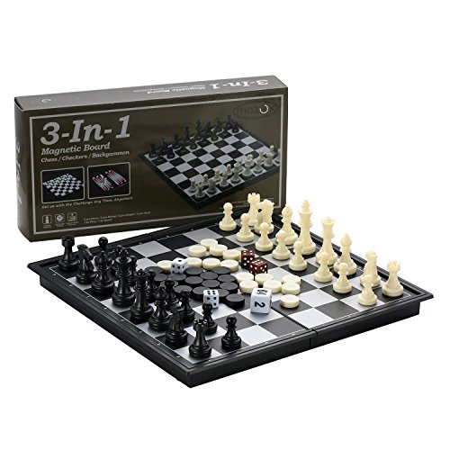 3-in-1 Folding Magnetic Travel Chess & Checkers & Backgammon Chess Set by MAZEX for Kids or Adults Chess Board Game (9.8X9.8X0.8 Inch)