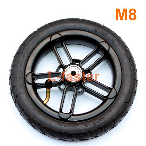 """200x35 Pneumatic Tyre Use Nylon Hub Fit M8 or M6 Axle 8"""" Air Wheel for Scooter Replacement 8 Inch Inflatable Wheel Tube (M8)"""