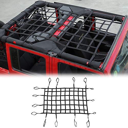 CheroCar Mesh Cargo Top Net Trunk Side Back Net Restraint Protective Roof Top Baggage Net for Jeep Wrangler 2007-2018 JK JKU 4 Door 1 PC Black