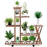 Wood Plant Stand, 5-Tier Reinforcement Plant Display Stand with 4 Wheels for Indoor Outdoor Patio Garden Corner Balcony Living Room(11-14 Flowerpots)