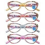Reading Glasses Blue Light Blocking for Women 4 Pack Floral Pattern Cat Eye Stylish Readers withSoft Pouches Lightweight Eyeglasses Anti Eye Strain/Glare/UV 2.50
