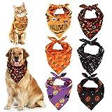 AUXSOUL 6 Stück Halloween Haustier Halstuch für Hunde, Haustier Kopftuch Bandanas Set...