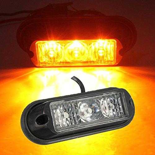 MASUNN 3 LED Clignotant Stroboscope Lampe de récupération Feux de signalisation Panne de Tronc camions Ambre