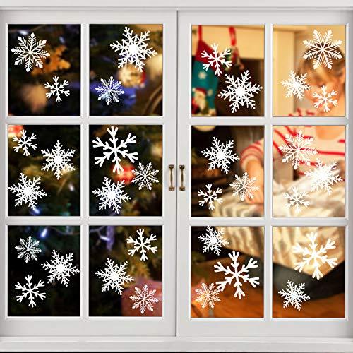 VGOODALL Fensterbilder Weihnachten, 141 Stück Schneeflocken Fenstersticker mit 1 Abstreicher PVC Selbstklebend Fensterdeko Weihnachten Fensteraufkleber für Türen Schaufenster Vitrinen Glasfronten Deko