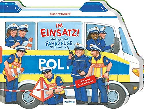 Im Einsatz!: Mein großes Fahrzeuge-Wimmelbuch | Rettungswagen von Polizei, Feuerwehr & Krankenwagen