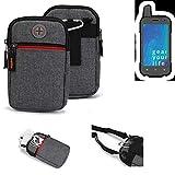 K-S-Trade® Gürtel-Tasche Für Ruggear RG720 Handy-Tasche Schutz-hülle Grau Zusatzfächer 1x