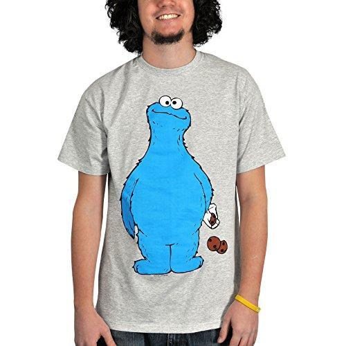 Sesame Street Cookie Thief Monster T-shirt Monstre avec Cookie avant pleine grandeur et gris motif arrière - M