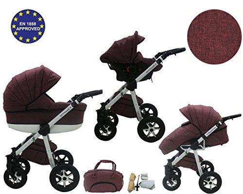 QUERO Lin Matériau - Landau pour bébé + Siège Auto - Poussette - Système 3en1 + Accessoires (Système 3en1, Lin Matériau N ° 11)
