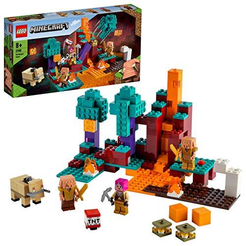 LEGO 21168 Mincecraft Der Wirrwald Spielset mit Huntress, Hoglin und 2 Piglins, Spielzeug ab 8 Jahren