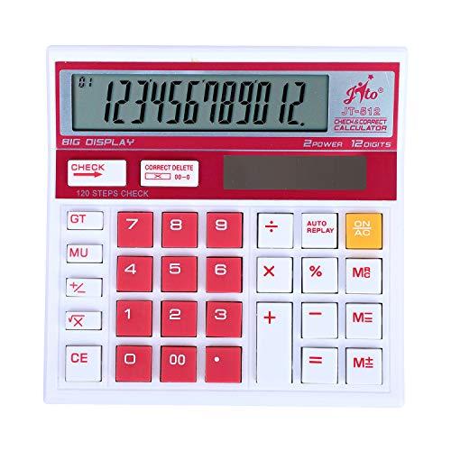 Jito 12 Digits JT-512 White- Pink 1 Year Warranty Electronic Calculator