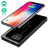 Yizer Innovador Power Bank de 20000mAh, Cargador Inalámbrico Rápido, Elegante batería Externa portátil con 2 Puertos de Carga y Pantalla LED Digital. Compatible con Carga inalámbrica Qi