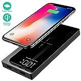 Yizer Batterie Externe 20000mAh Chargeur sans Fil Rapide Chargeur à Induction avec 2 Ports USB et Affichage Numérique LED Portable Power Bank pour Téléphone Android Tablette