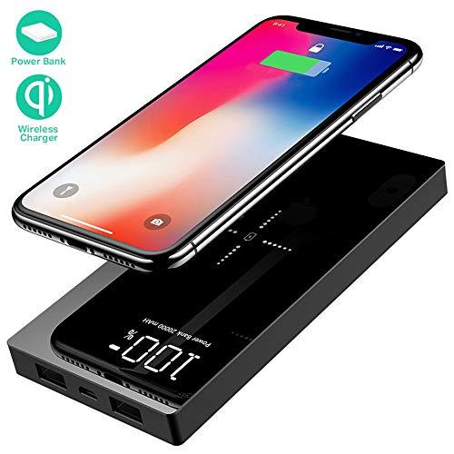 Yizer Powerbank 20000mAh Externer Akku, Wireless Power Bank mit 2 Ausgänge und LCD Digital Display Tragbares Ladegerät für das Android/IOS Phone und andere Smartphones/Handys