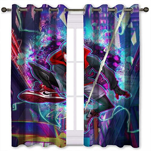 Cortinas opacas de oscurecimiento con aislamiento térmico urbano, diseño de hombre araña, colores para dormitorio (116 x 183 cm)